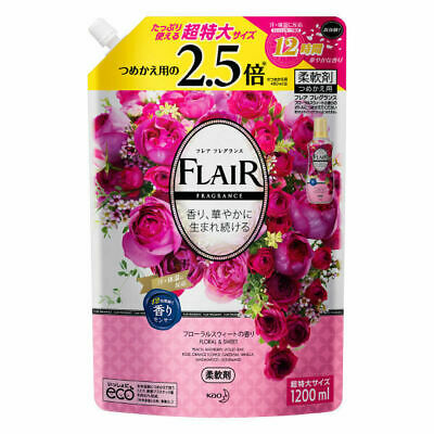 Kao Japan FLAIR FRAGRANCE Laundry Fabric Softener Floral & Sweet 1200ml Refill