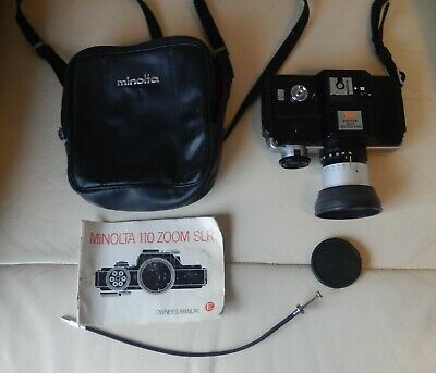 Camera Minolta 110 Zoom SLR with manual and carry case