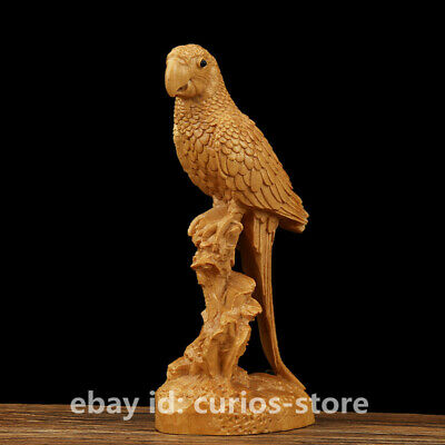 "4.7""Chinese Box-wood Hand-carved Animal Poll Parrot Lucky Bird Unique Art Statue"