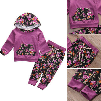 2PCS Newborn Kids Baby Girl Clothes Hooded Sweater Tops+Floral Pants Winter Set