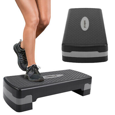 """Gray 27'' Fitness Aerobic Step Adjust 4"""" - 6"""" Exercise Stepper W/2 Risers"""