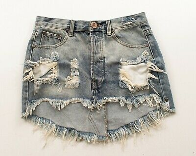 afa3db1dd2 ONE TEASPOON 4040 Skirt 27 31 DBL Trashed Denim Low Waist Mini ...