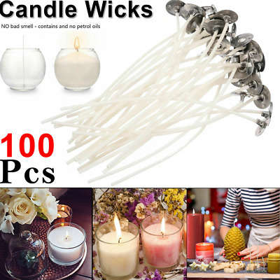 100 x 20cm Long Pre Waxed Wicks For Home Candle Making Cotton With Sustainers UK
