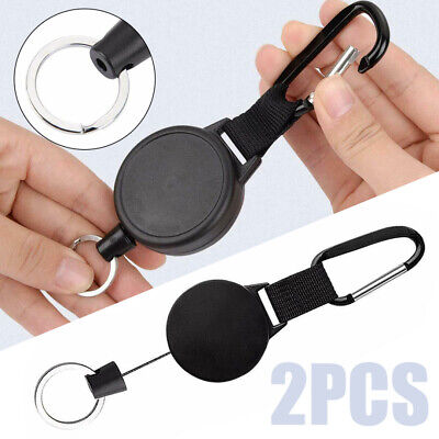 "2X Retractable Key Chain Reel Recoil Pull Badge Reel with 27"" Key Ring Rope US"