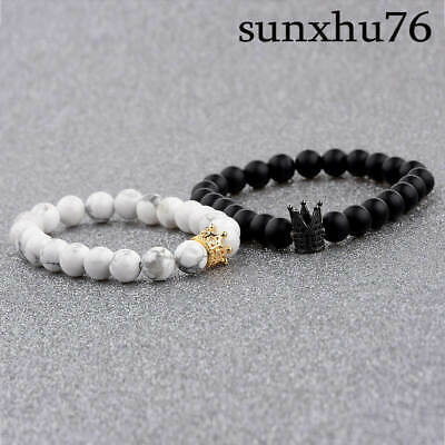 90255ceed1 2Pcs King Queen Couple Crown Bracelets His And Her Friendship 8mm Beads  Bracelet