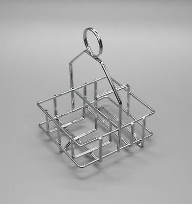 Salt Pepper Caddy Chrome Restaurant Condiment Napkin Holder Basket Restaurant