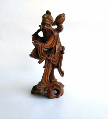 Vintage Chinese Rosewood Hand Carved Figural Wise Old Man Figurine Sculpture 7""