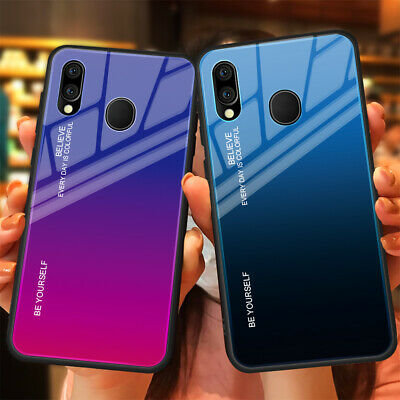 For Samsung Galaxy A40 A70 A30 Shockproof Tempered Gradient Glass+TPU Case Cover