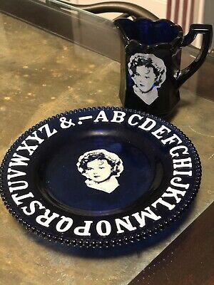 Antique Shirley Temple Cobalt Blue Alphabet Plate And Cup