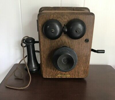 ATQ Early 1900s Hand Crank Kellogg Chicago Wood Oak Wall Telephone Ma Bell Syst