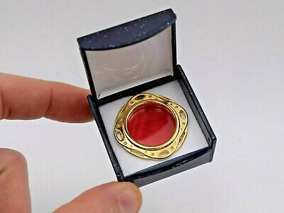 + New Goldplated Relic Theca, Reliquary Theca with Crystal Window & Display Case