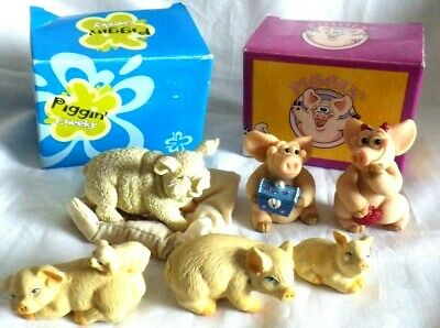 6 x Collectable pig ornaments found in loft some boxed valentines piggin pig