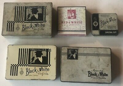 5 Black & White Tobacco Tins 4 Are Australian And The Red Tin Is English