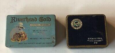 Lot Of 2 Tobacco Tins River head Gold Players Navy Cut Napier New Zealand