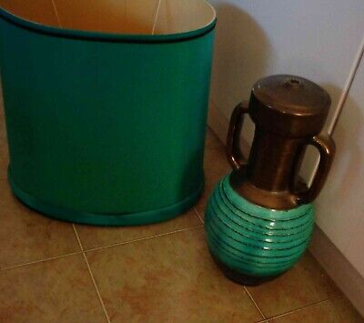 1970's 2 PIECES VINTAGE AQUA CERAMIC/POTTERY  LAMP SHADE (NOT WIRED) PROJECT