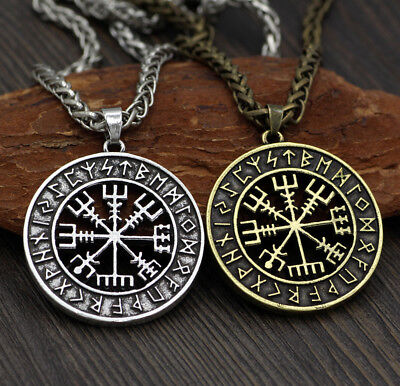 the Helm of Awe Valknut Viking Odin's Symbol Compass Symbol Pendant Necklace Fad