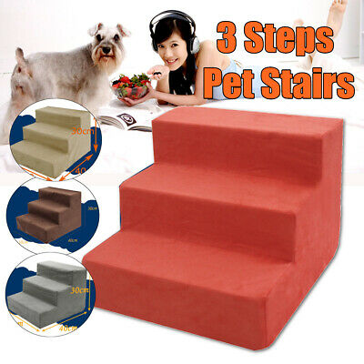 Dog Puppy Cat 3 Steps Pet Stairs Car Sofa Bed Washable Soft Cover Cat Climb Ramp