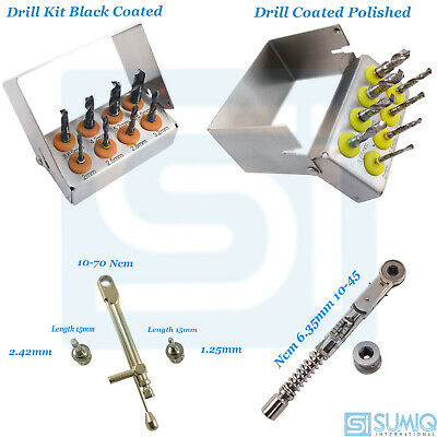 Dental Implant Drill Kit Polished and Black Coated  implants Torques Wrenches CE