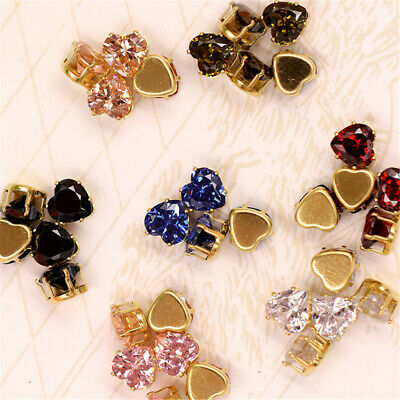 Pack of (x10) Sew On AB Crystal Faceted Rhinestones Heart Shaped Diamante Gems