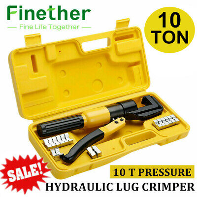 10 Ton Hydraulic Wire Terminal Crimper Battery Cable Lug Crimping Tool 8 Dies A+