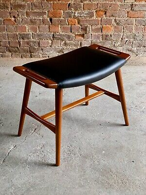 Hans Wegner Papa Bear Stool Ottoman Leather Model AP 30  Denmark Circa 1960