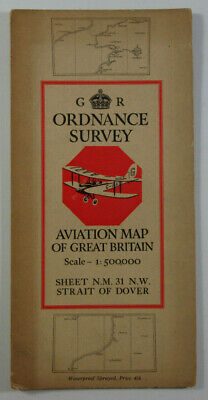 1937 OS Ordnance Survey 1:500,000 Aviation CLOTH Map NM 31 NW Dover Waterproof