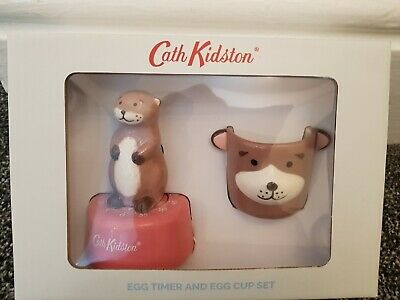 Cath Kidston Otter Gift Set Kitchen Timer & Egg Cup New Boxed