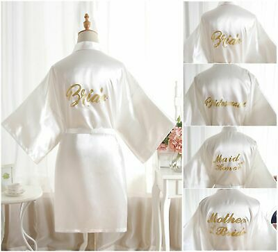 Hot Satin Silk Personalized Wedding Robe Bridesmaid Bride Mother Dressing Gown