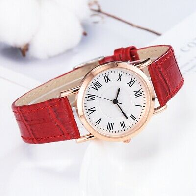 Luxury Round Dial PU Leather Watch Women Lady Analog Quartz Casual Wrist Watches