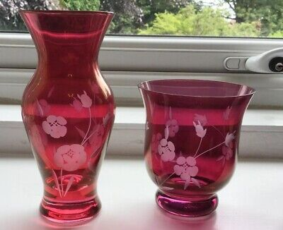 Pretty Pair Of Cranberry Glass Vases With Frosted Etched Flowers