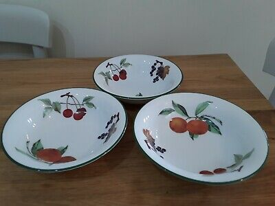 3 x  Royal Worcester Evesham Vale  ~Cereal/Soup/Dessert Bowls new