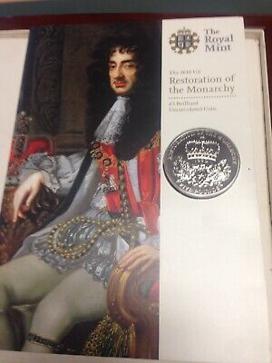 2010 UK five pound £5 Restoration of the Monarchy Brilliant Uncirculated coin