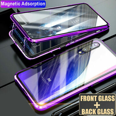 360° Double Sides Glass Magnetic Metal Case Cover for Xiaomi Redmi 9se Note7 Pro