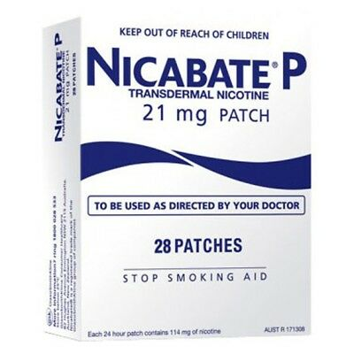 NICABATE NICOTINE PATCH 21mg FULL STRENGTH 28 Patches EXPIRY 03/21 TRACKED POST!