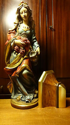 "✟ Vintage 24"" Wood Hand Carved Patron Saint St Elizabeth Of Hungary Statue +Base"