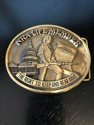 NRA Life Member The Right to Keep and Bear Arms Belt Buckle Solid Brass Rifle