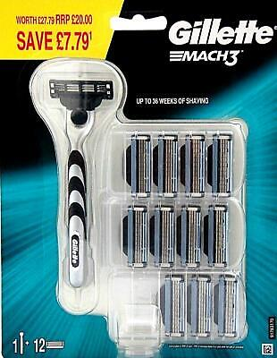 Gillette Mach3 1+12. 1 Handle & 12 Blades Free Delivery
