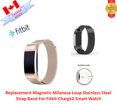 Replacement Magnetic Milanese Loop Stainless Steel Strap Band For Fitbit Charge2