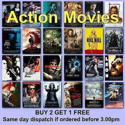 Classic Action Movie Posters Film Poster 115 Titles HD Borderless Prints