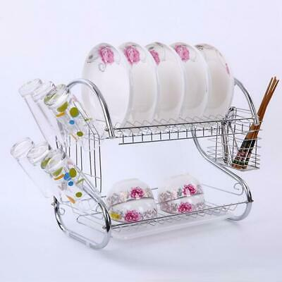 2Tier Large Capacity Kitchen Dish Cup Drying Rack Drainer Dryer Strainer Storage