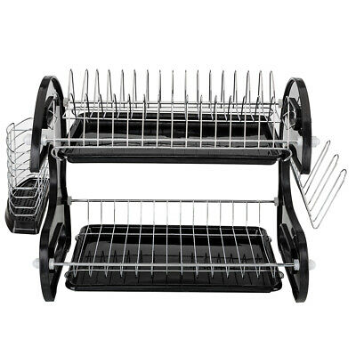 Home Dual Layers Collection Shelf Multifunctional Dish Drainer Drying Rack Black