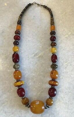 """Vintage Beaded Cherry Bakelite? Baltic Butterscotch Amber? Beads 24.5"""" Necklace"""