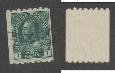Used Canada 1 Cent Perf 8 Horizontally KGV Admiral Coil Stamp #123 (Lot #15487)