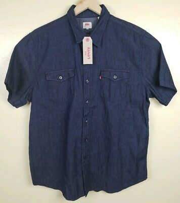 1d1fd81e Levis Button Front Denim Shirt Mens Size XXL Dark Blue Denim Short Sleeve  New