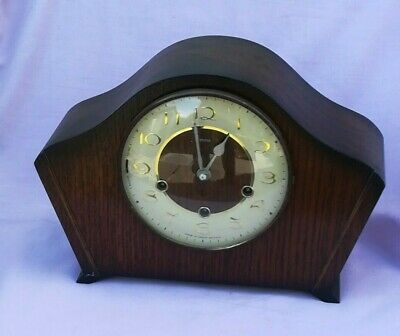 Vintage Smiths Wooden Cased 3 Train Mantle Clock - No Key so SPARES/REPAIRS
