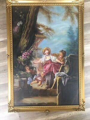 Antique French 19th Century Oil Painting On Canvas, Signed & Framed ,Beautiful
