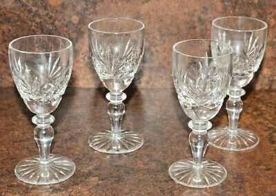 Four vintage cut crystal sherry Glasses