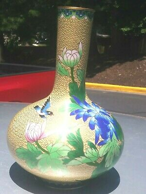 Vintage Chinese Brass Cloisonné long neck Vase with Flowers and blue design