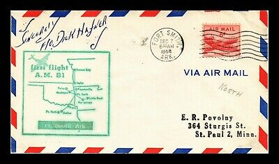 Dr Jim Stamps Us Ft Smith Arkansas Am 81 First Flight Air Mail Cover Kansas City
