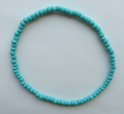 """Dark Turquoise Opaque Seed Bead Stretchy Anklet 9.5"""" Rainbow Ankle Bracelet"""